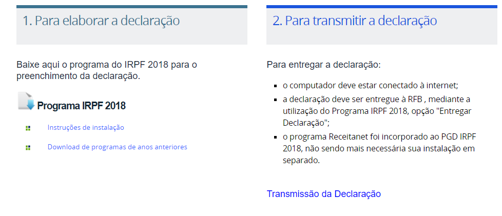 Download Programa IRPF 2020
